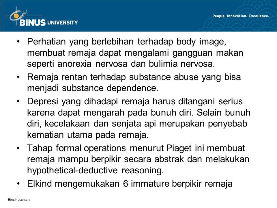 Bina Nusantara Perhatian yang berlebihan terhadap body image, membuat remaja dapat mengalami gangguan makan seperti anorexia nervosa dan bulimia nervo