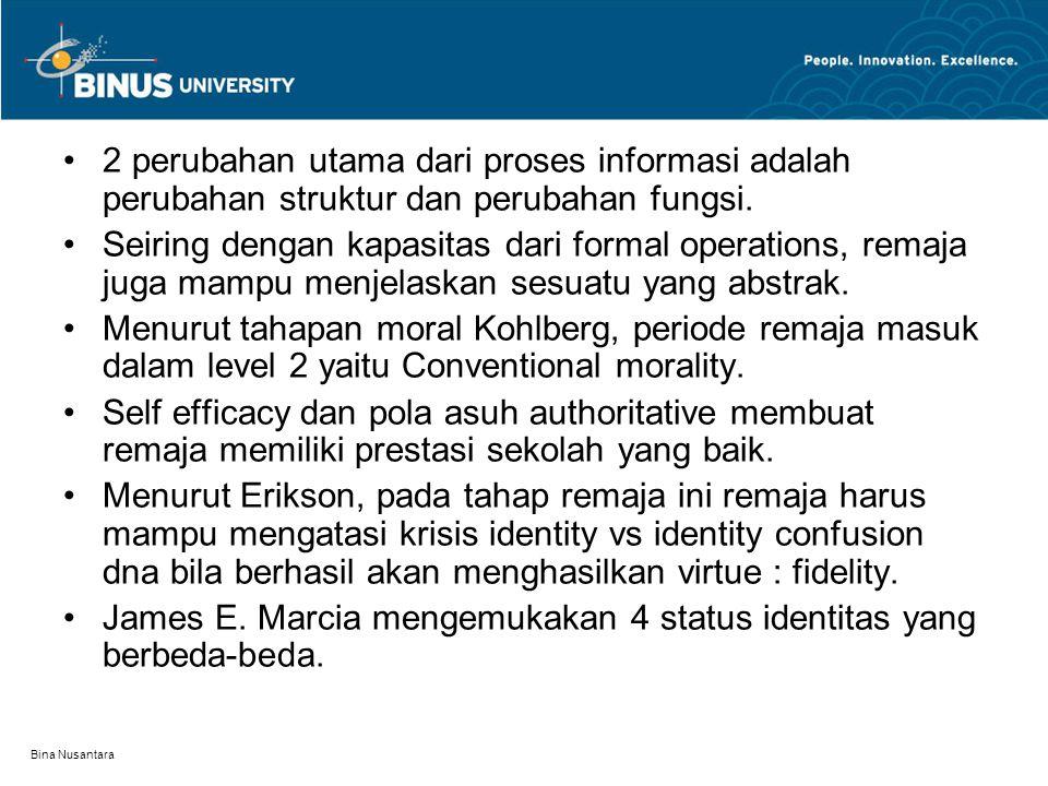 Bina Nusantara 2 perubahan utama dari proses informasi adalah perubahan struktur dan perubahan fungsi. Seiring dengan kapasitas dari formal operations