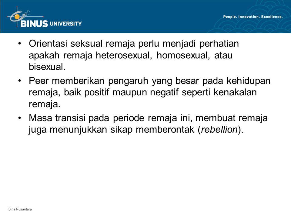 Bina Nusantara Orientasi seksual remaja perlu menjadi perhatian apakah remaja heterosexual, homosexual, atau bisexual. Peer memberikan pengaruh yang b