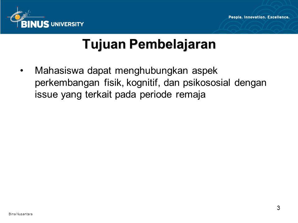 Bina Nusantara Perkembangan fisik pada periode remaja Perkembangan kognitif pada periode remaja Perkembangan psikososial pada periode remaja Materi Pembelajaran 4