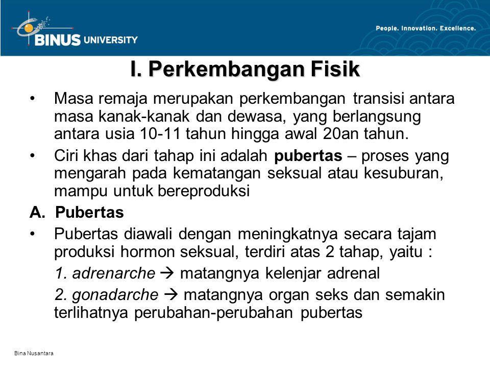 Bina Nusantara Butuh waktu sekitar 7 tahun permulaan pubertas pada anak laki-laki, dan sekitar 8 tahun pada anak perempuan.