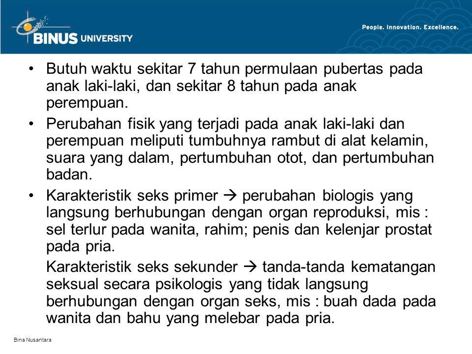Bina Nusantara Butuh waktu sekitar 7 tahun permulaan pubertas pada anak laki-laki, dan sekitar 8 tahun pada anak perempuan. Perubahan fisik yang terja