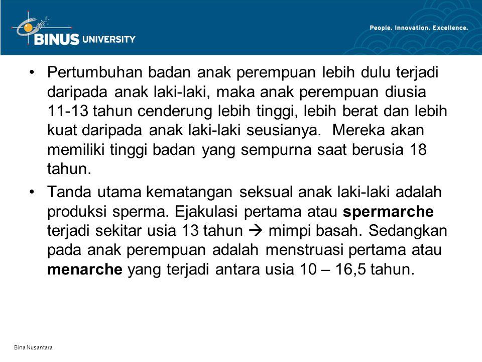 Bina Nusantara Pertumbuhan badan anak perempuan lebih dulu terjadi daripada anak laki-laki, maka anak perempuan diusia 11-13 tahun cenderung lebih tin