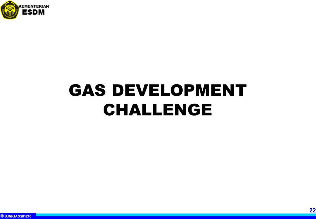 © DJMIGAS 201210 KEMENTERIANESDM INDONESIA GAS DEVELOPMENT CHALLENGE  Indonesia endowed with potential of variety energy resources conventional as well as unconventional gas  Domestic and Global Natural Gas demand increased  Government of Indonesia is obliged to guarantee the availability of domestic feed stock and fuel supply (including natural gas).
