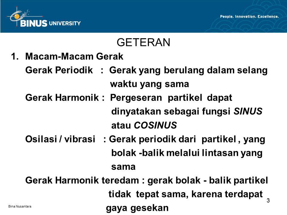 Bina Nusantara 1.Macam-Macam Gerak Gerak Periodik : Gerak yang berulang dalam selang waktu yang sama Gerak Harmonik : Pergeseran partikel dapat dinyat