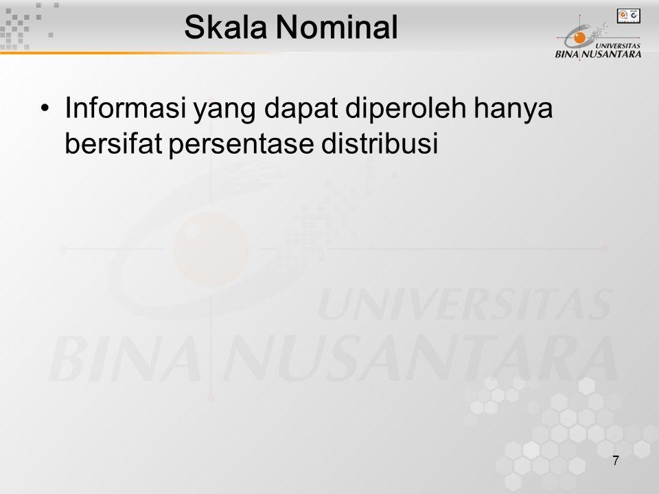 7 Skala Nominal Informasi yang dapat diperoleh hanya bersifat persentase distribusi