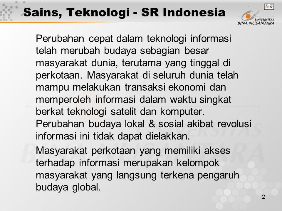 2 Sains, Teknologi - SR Indonesia Perubahan cepat dalam teknologi informasi telah merubah budaya sebagian besar masyarakat dunia, terutama yang tingga