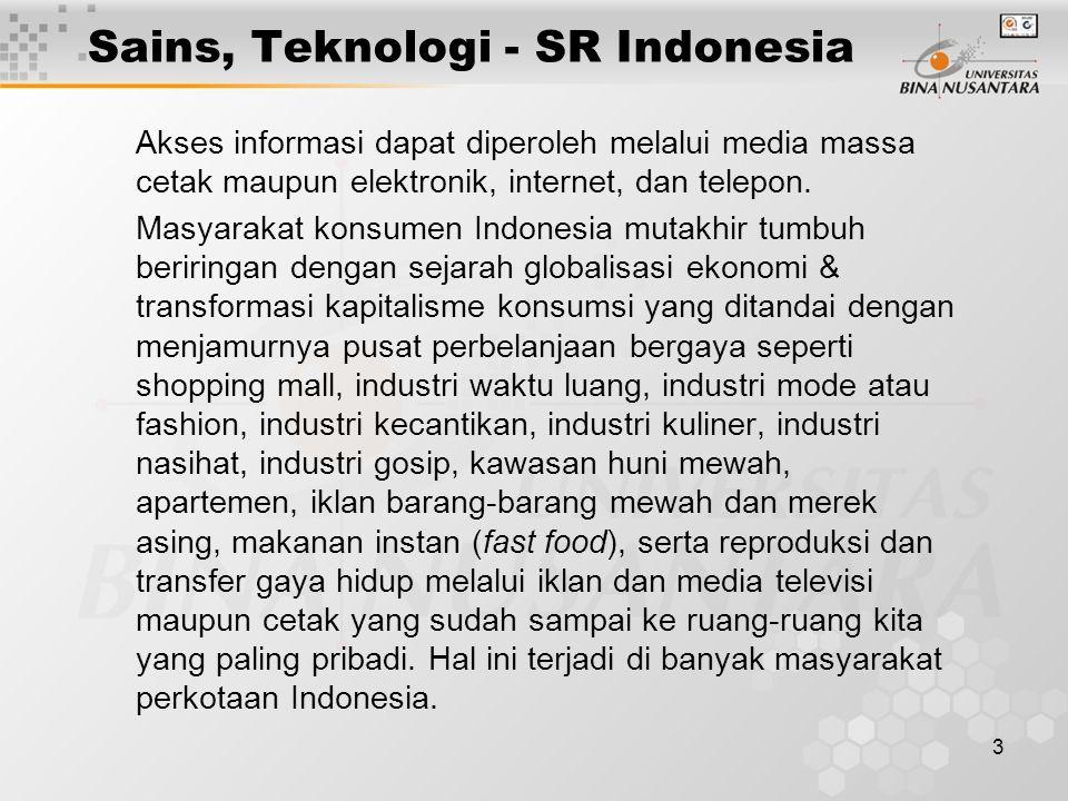 3 Sains, Teknologi - SR Indonesia Akses informasi dapat diperoleh melalui media massa cetak maupun elektronik, internet, dan telepon. Masyarakat konsu