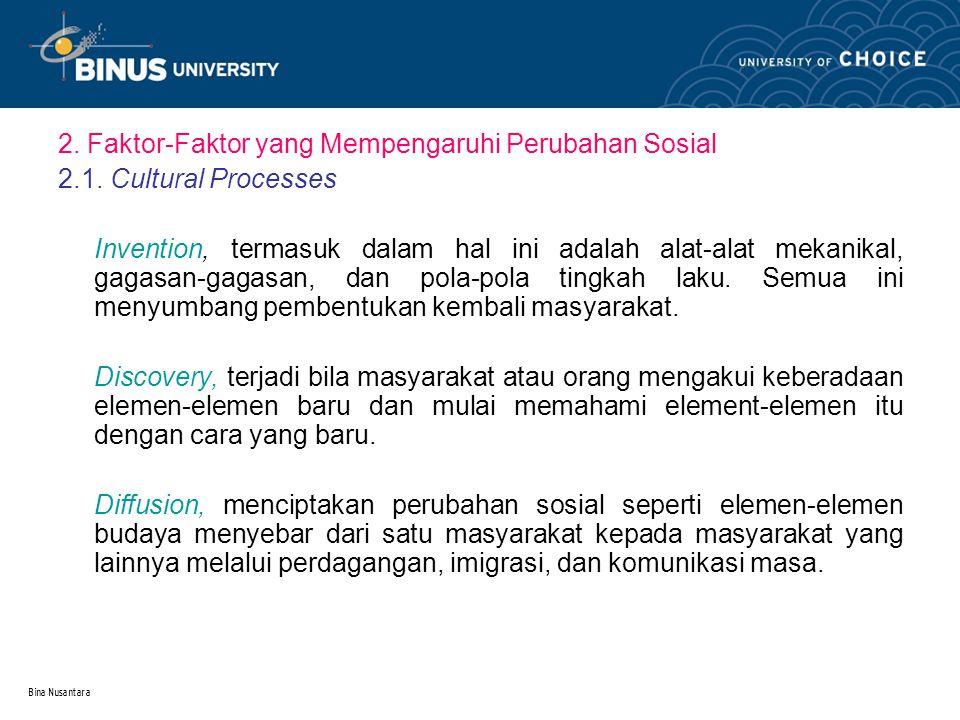 Bina Nusantara 2. Faktor-Faktor yang Mempengaruhi Perubahan Sosial 2.1. Cultural Processes Invention, termasuk dalam hal ini adalah alat-alat mekanika