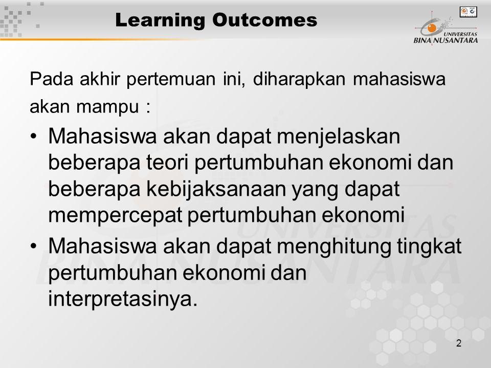 2 Learning Outcomes Pada akhir pertemuan ini, diharapkan mahasiswa akan mampu : Mahasiswa akan dapat menjelaskan beberapa teori pertumbuhan ekonomi da