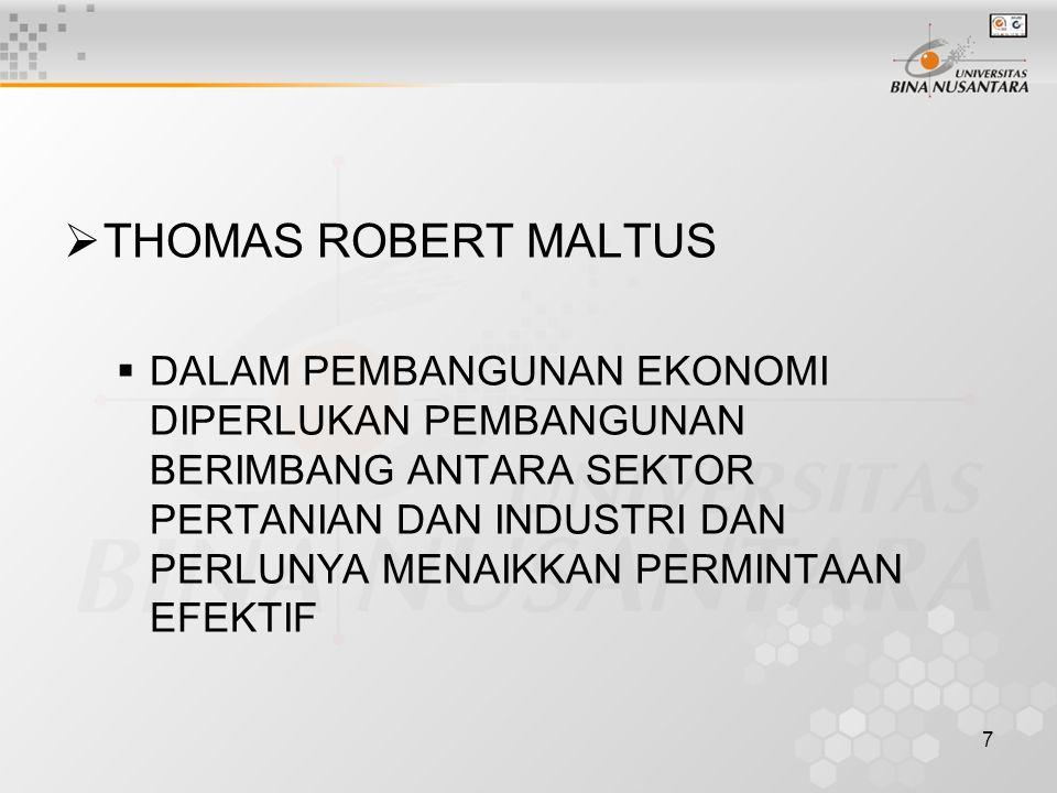 7  THOMAS ROBERT MALTUS  DALAM PEMBANGUNAN EKONOMI DIPERLUKAN PEMBANGUNAN BERIMBANG ANTARA SEKTOR PERTANIAN DAN INDUSTRI DAN PERLUNYA MENAIKKAN PERM