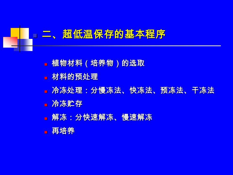 二、超低温保存的基本程序 二、超低温保存的基本程序 植物材料(培养物)的选取 植物材料(培养物)的选取 材料的预处理 材料的预处理 冷冻处理:分慢冻法、快冻法、预冻法、干冻法 冷冻处理:分慢冻法、快冻法、预冻法、干冻法 冷冻贮存 冷冻贮存 解冻:分快速解冻、慢速解冻 解冻:分快速解冻、慢速解冻 再培