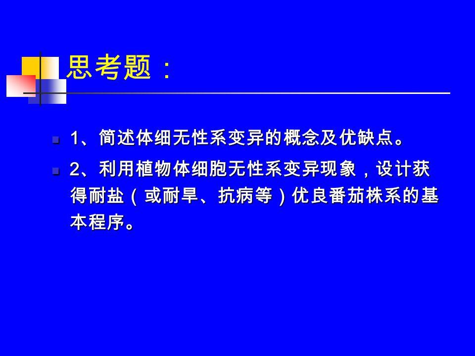 思考题: 1 、简述体细无性系变异的概念及优缺点。 1 、简述体细无性系变异的概念及优缺点。 2 、利用植物体细胞无性系变异现象,设计获 得耐盐(或耐旱、抗病等)优良番茄株系的基 本程序。 2 、利用植物体细胞无性系变异现象,设计获 得耐盐(或耐旱、抗病等)优良番茄株系的基 本程序。