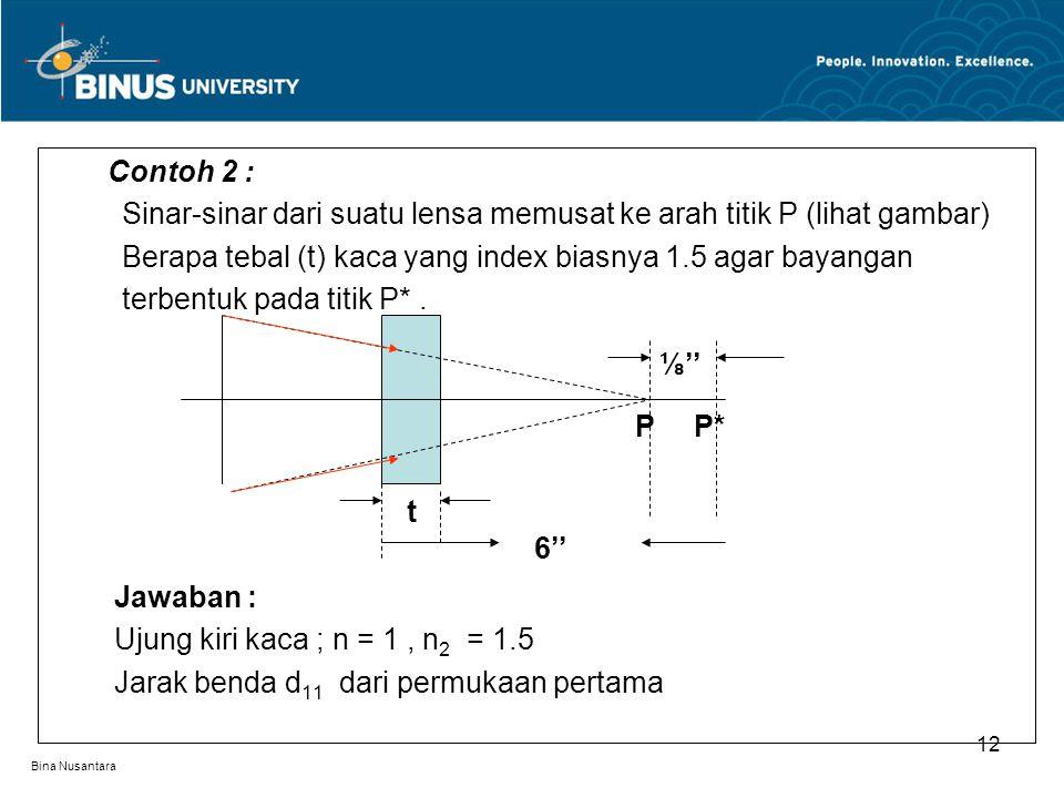Bina Nusantara Contoh 2 : Sinar-sinar dari suatu lensa memusat ke arah titik P (lihat gambar) Berapa tebal (t) kaca yang index biasnya 1.5 agar bayangan terbentuk pada titik P*.