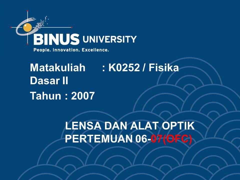 LENSA DAN ALAT OPTIK PERTEMUAN 06-07(OFC) Matakuliah: K0252 / Fisika Dasar II Tahun: 2007