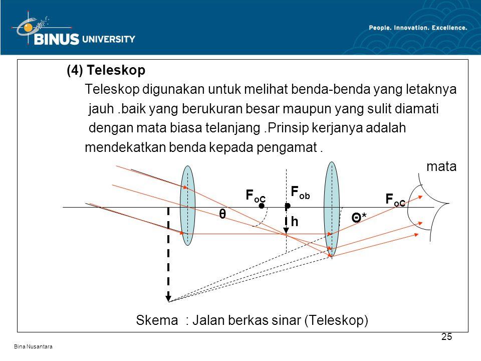 Bina Nusantara (4) Teleskop Teleskop digunakan untuk melihat benda-benda yang letaknya jauh.baik yang berukuran besar maupun yang sulit diamati dengan mata biasa telanjang.Prinsip kerjanya adalah mendekatkan benda kepada pengamat.