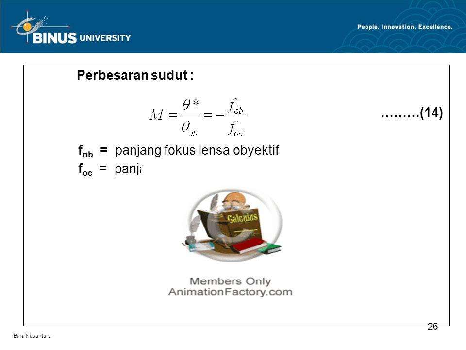 Bina Nusantara Perbesaran sudut : ………(14) f ob = panjang fokus lensa obyektif f oc = panjang fokus lemsa okuler 26