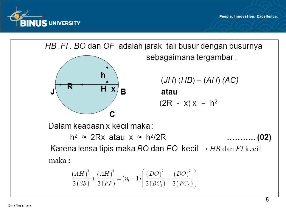 Bina Nusantara Untuk sinar-sinar paraxial : AH ≈ DO dan SB = d 0 = d 1, FP = d I = d 2, BC 1 = R 1 dan FC 2 = – R 2 maka ……………(03) Apabila lensa berada dalam medium dengan index bias n m, persamaan (03) menjadi : ……… … (04) R 1 dan R 2 adalah jejari permukaan cembung dan cekung d 0 dan d i adalah jarak benda dan bayangan Persamaan ini disebut rumus pembuat lensa 6