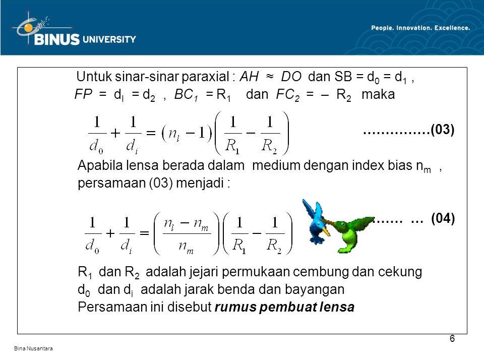 Bina Nusantara Lensa Divergen Lensa dengan panjang fokus fokus negatif, dan bersifat menye-.