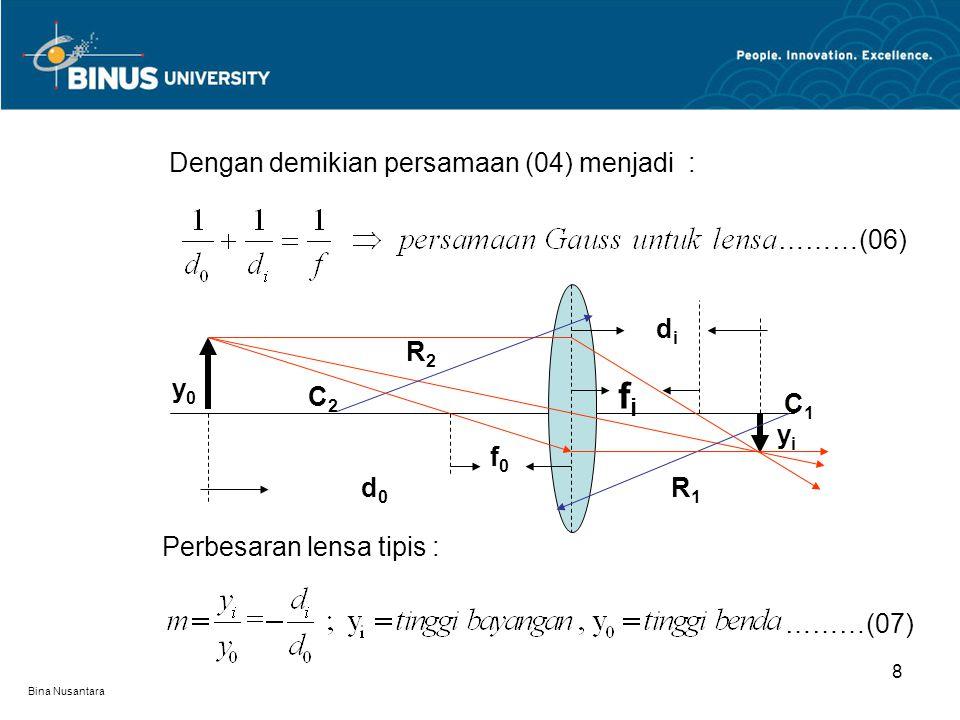 Bina Nusantara 8 Dengan demikian persamaan (04) menjadi : ………(06) Perbesaran lensa tipis : ………(07) yiyi d0d0 didi fifi C2C2 C1C1 y0y0 f0f0 R2R2 R1R1