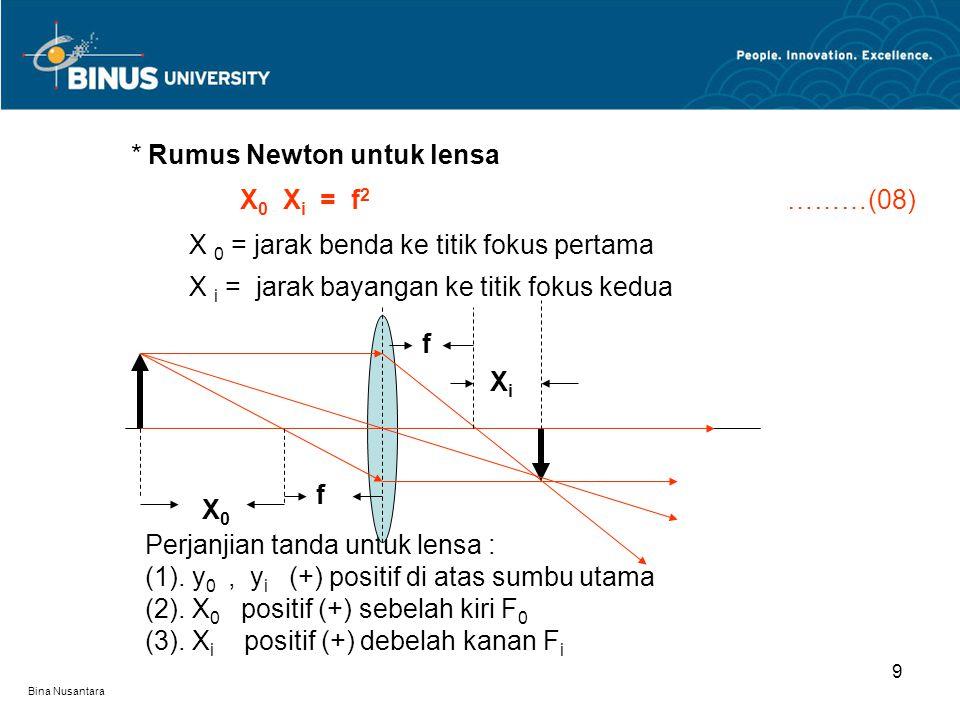 Bina Nusantara ▪ Gabungan lensa tipis Apabila dua lensa tipis digabung dan keduanya terpisah sebesar d cm maka panjang fokus ekivalennya adalah : (09) Contoh soal 1 : Sebuah sumber cahaya titik terletak pada sumbu utama dan.