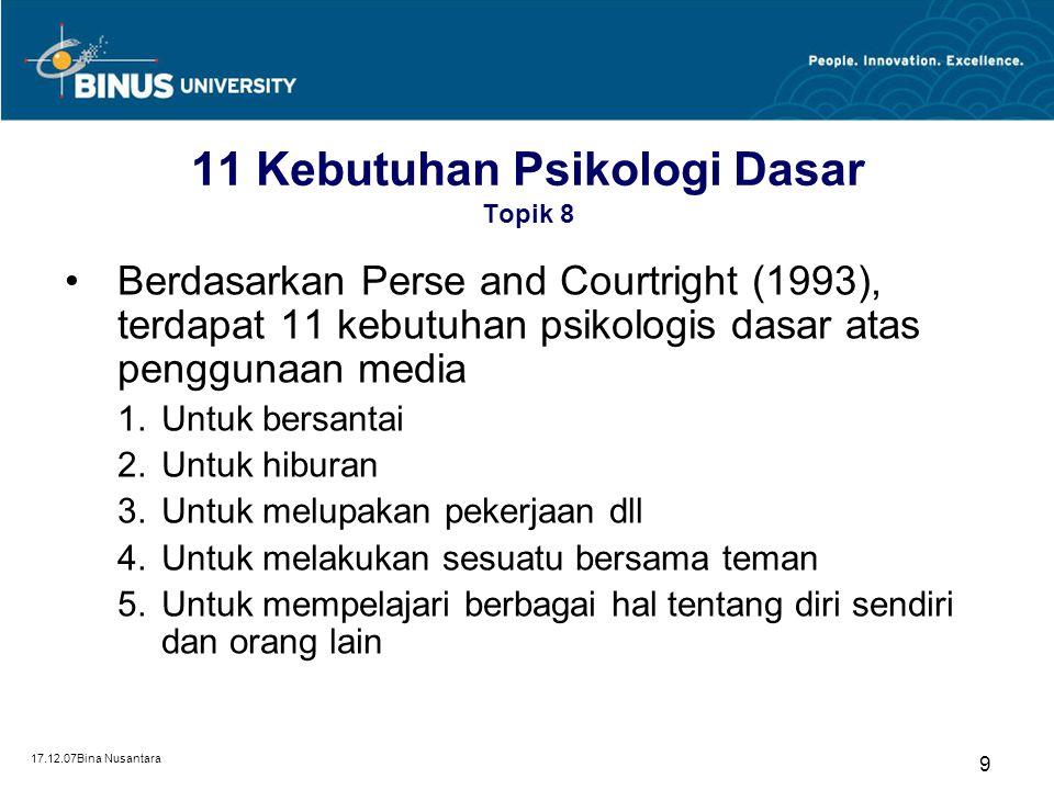 17.12.07Bina Nusantara 9 11 Kebutuhan Psikologi Dasar Topik 8 Berdasarkan Perse and Courtright (1993), terdapat 11 kebutuhan psikologis dasar atas penggunaan media 1.Untuk bersantai 2.Untuk hiburan 3.Untuk melupakan pekerjaan dll 4.Untuk melakukan sesuatu bersama teman 5.Untuk mempelajari berbagai hal tentang diri sendiri dan orang lain