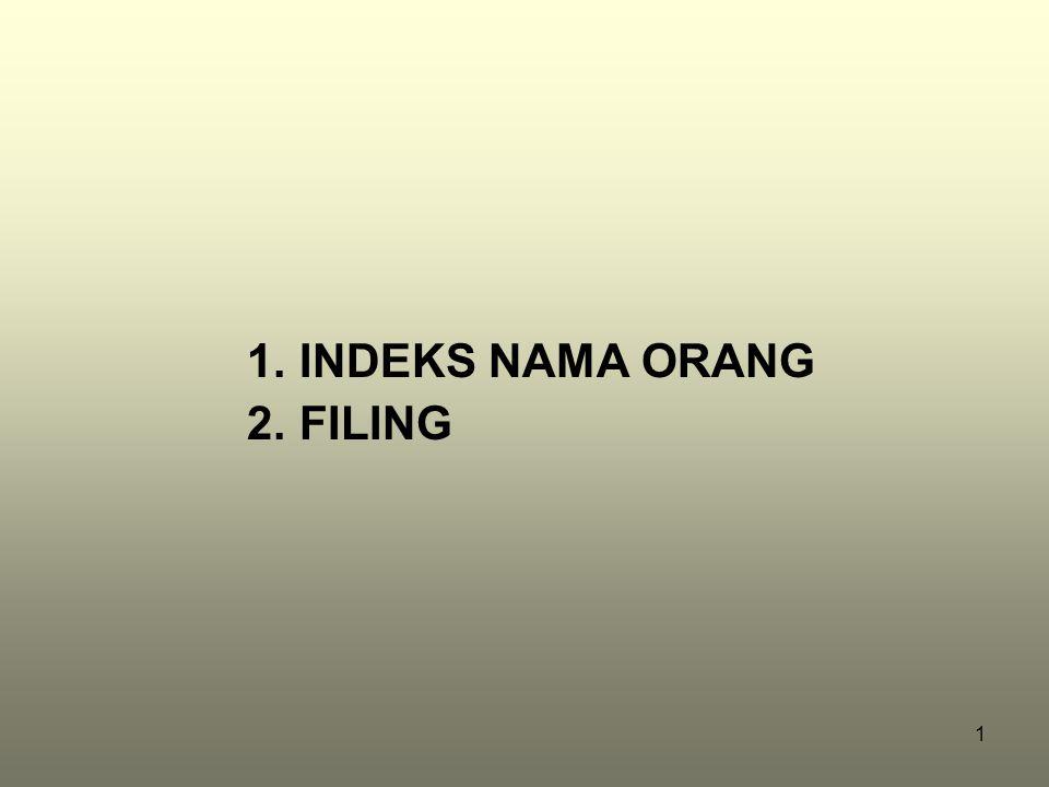 1 1.INDEKS NAMA ORANG 2.FILING