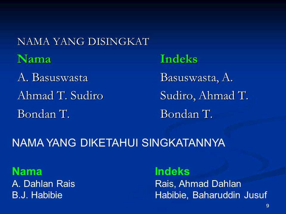 9 NAMA YANG DISINGKAT NamaIndeks A. BasuswastaBasuswasta, A. Ahmad T. SudiroSudiro, Ahmad T. Bondan T.Bondan T. NAMA YANG DIKETAHUI SINGKATANNYA NamaI