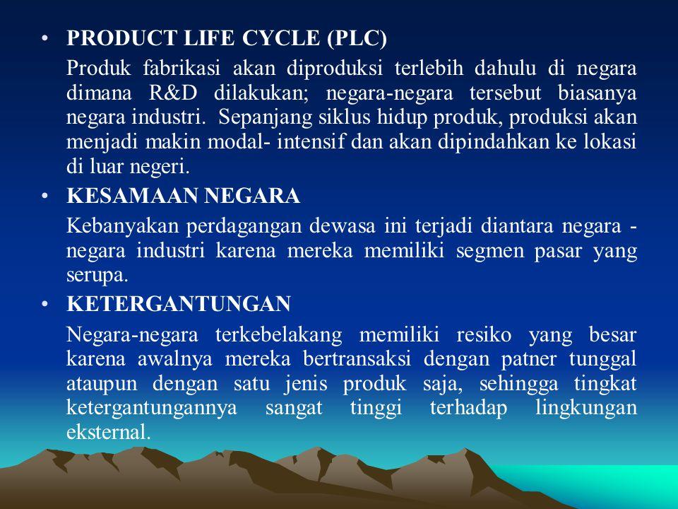 PRODUCT LIFE CYCLE (PLC) Produk fabrikasi akan diproduksi terlebih dahulu di negara dimana R&D dilakukan; negara-negara tersebut biasanya negara indus