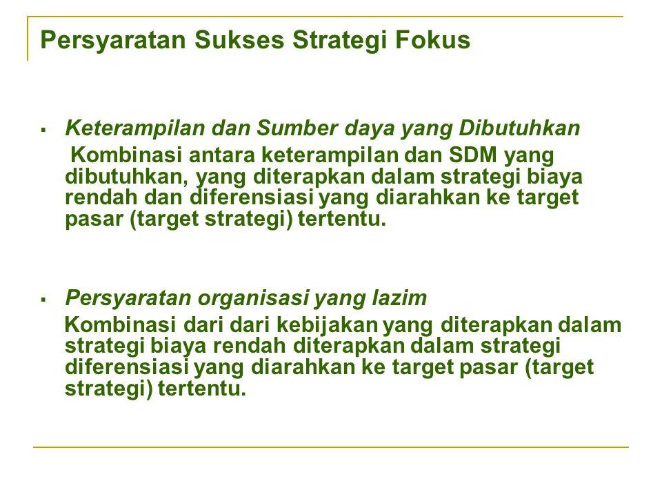Persyaratan Sukses Strategi Fokus  Keterampilan dan Sumber daya yang Dibutuhkan Kombinasi antara keterampilan dan SDM yang dibutuhkan, yang diterapka