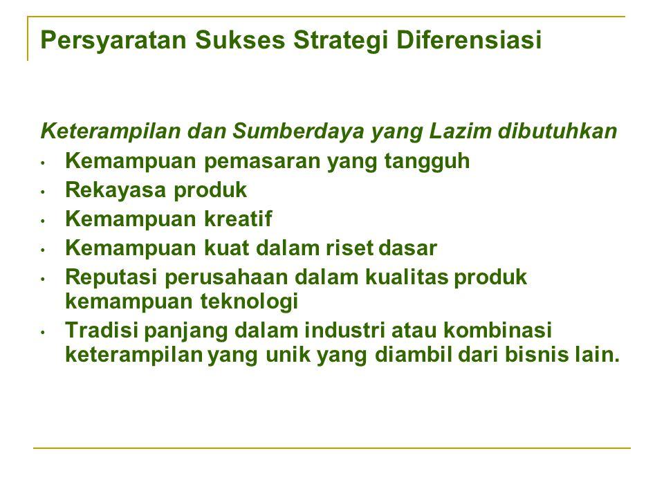 Persyaratan Sukses Strategi Diferensiasi Keterampilan dan Sumberdaya yang Lazim dibutuhkan Kemampuan pemasaran yang tangguh Rekayasa produk Kemampuan