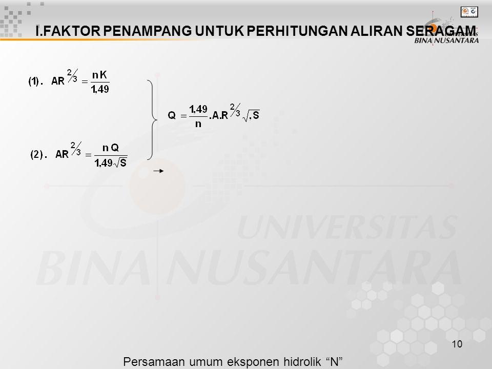 "10 I.FAKTOR PENAMPANG UNTUK PERHITUNGAN ALIRAN SERAGAM Persamaan umum eksponen hidrolik ""N""  Tabel 2.1 : untuk besaran A, T, P dan B  Gambar 10.2. :"