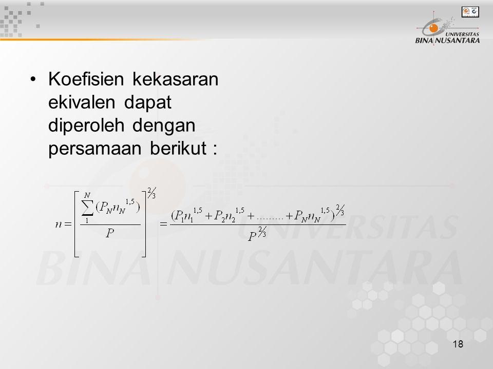 18 Koefisien kekasaran ekivalen dapat diperoleh dengan persamaan berikut :