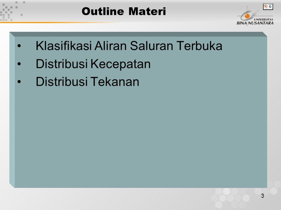 3 Outline Materi Klasifikasi Aliran Saluran Terbuka Distribusi Kecepatan Distribusi Tekanan