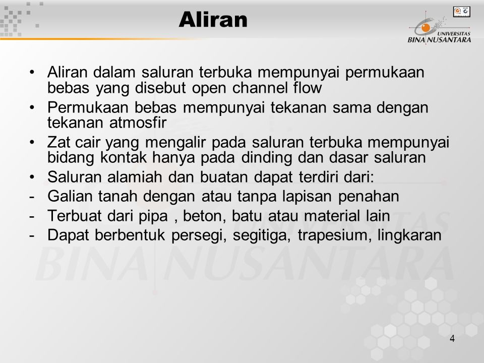 5 Klasifikasi Aliran Aliran Steady Flow dan Unsteady Flow Aliran Uniform Flow dan Nonuniform flow Aliran berubah lambat laun dan berubah tiba-tiba Aliran laminair dan Turbulen Aliran Subkritis, Kritis dan Superkritis