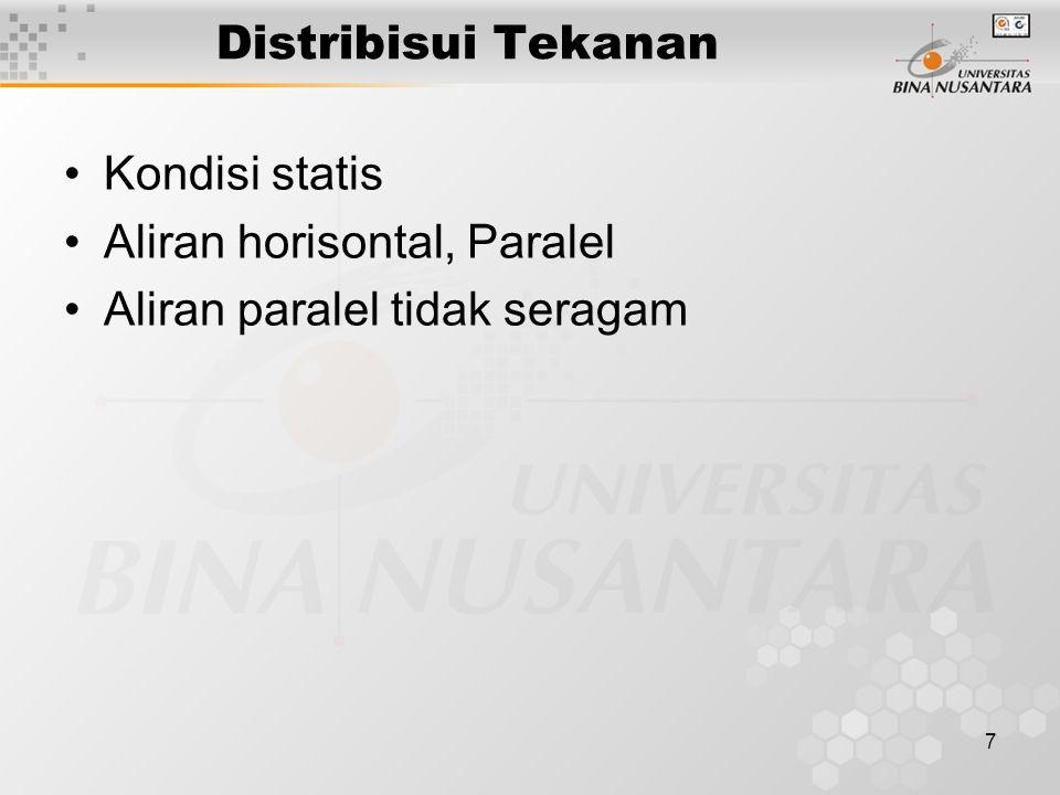 7 Distribisui Tekanan Kondisi statis Aliran horisontal, Paralel Aliran paralel tidak seragam