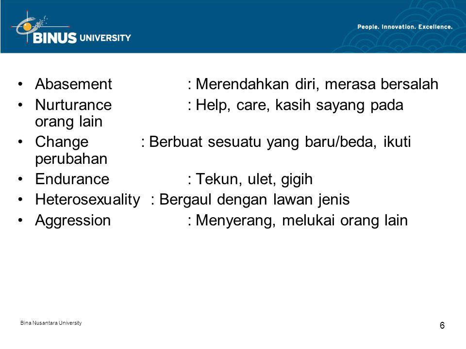 Bina Nusantara University 6 Abasement : Merendahkan diri, merasa bersalah Nurturance : Help, care, kasih sayang pada orang lain Change : Berbuat sesua