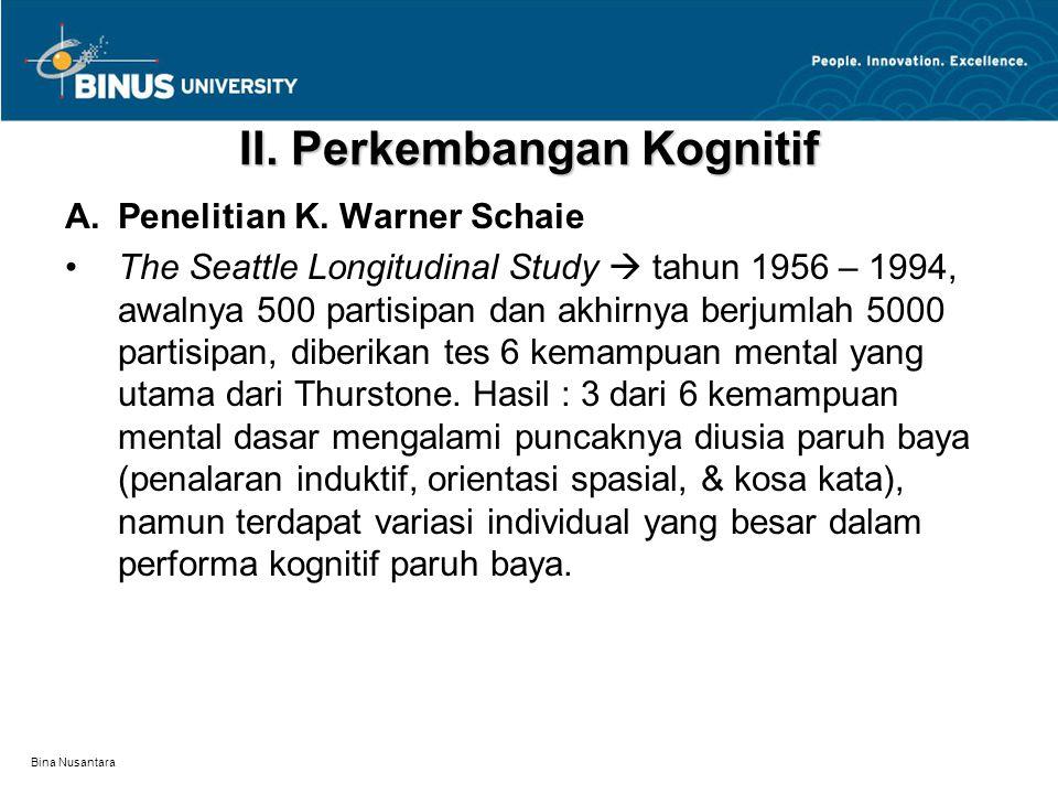 Bina Nusantara II.Perkembangan Kognitif A.Penelitian K.