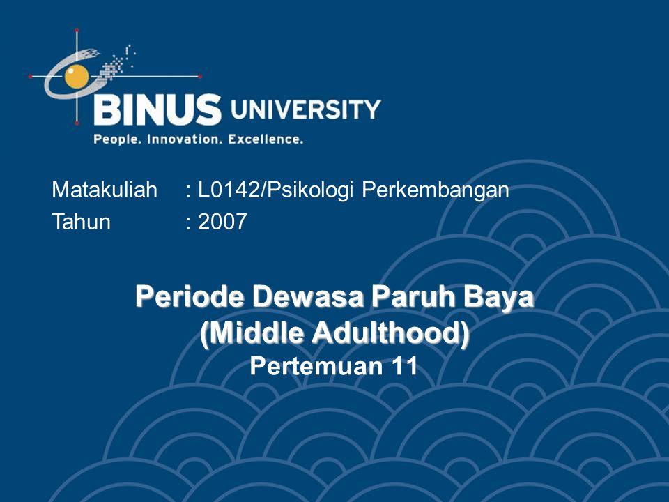 Bina Nusantara Mahasiswa dapat menghubungkan aspek perkembangan fisik, kognitif, dan psikososial dengan issue yang terkait pada periode paruh baya (Middle Adulthood) Tujuan Pembelajaran 3