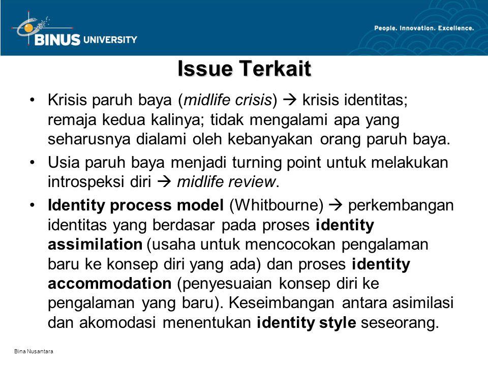 Bina Nusantara Issue Terkait Krisis paruh baya (midlife crisis)  krisis identitas; remaja kedua kalinya; tidak mengalami apa yang seharusnya dialami oleh kebanyakan orang paruh baya.