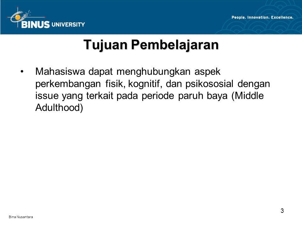 Bina Nusantara Perkembangan fisik pada periode middle adulthood Perkembangan kognitif pada periode middle adulthood Perkembangan psikososial pada periode middle adulthood Materi Pembelajaran 4