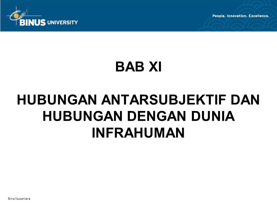 Bina Nusantara BAB XI HUBUNGAN ANTARSUBJEKTIF DAN HUBUNGAN DENGAN DUNIA INFRAHUMAN