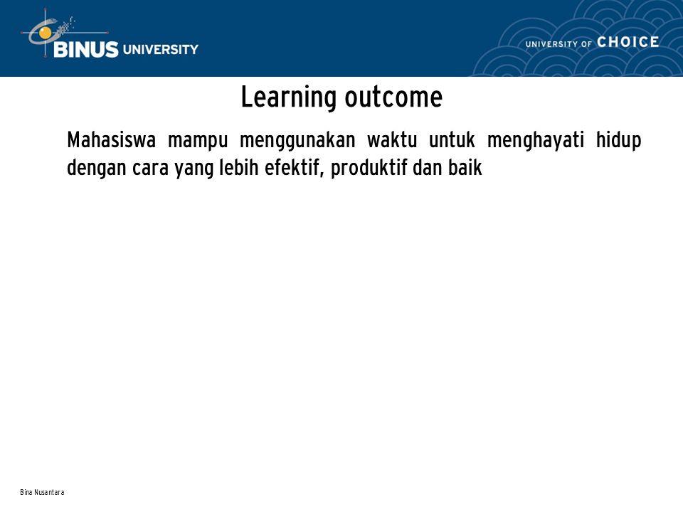 Bina Nusantara Learning outcome Mahasiswa mampu menggunakan waktu untuk menghayati hidup dengan cara yang lebih efektif, produktif dan baik