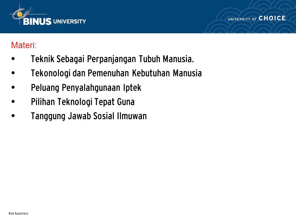 Bina Nusantara Materi: Teknik Sebagai Perpanjangan Tubuh Manusia.