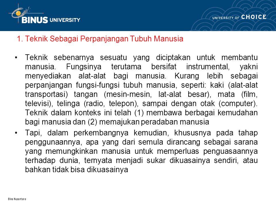 Bina Nusantara 2.Teknologi dan Pemenuhan Kebutuhan Manusia 2.1.