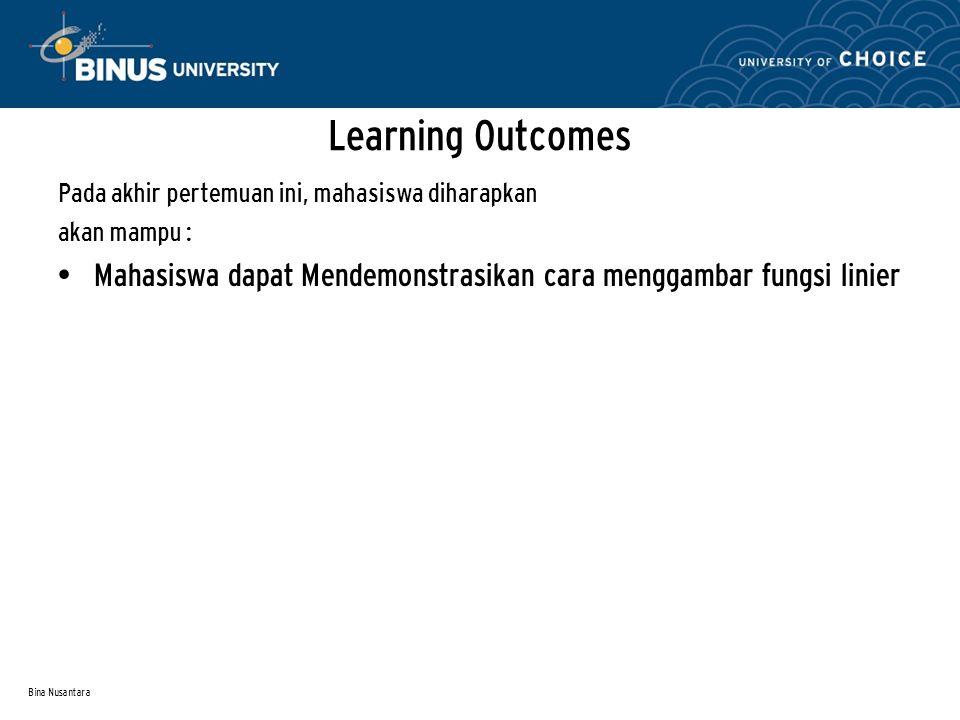Bina Nusantara Pada akhir pertemuan ini, mahasiswa diharapkan akan mampu : Mahasiswa dapat Mendemonstrasikan cara menggambar fungsi linier Learning Outcomes