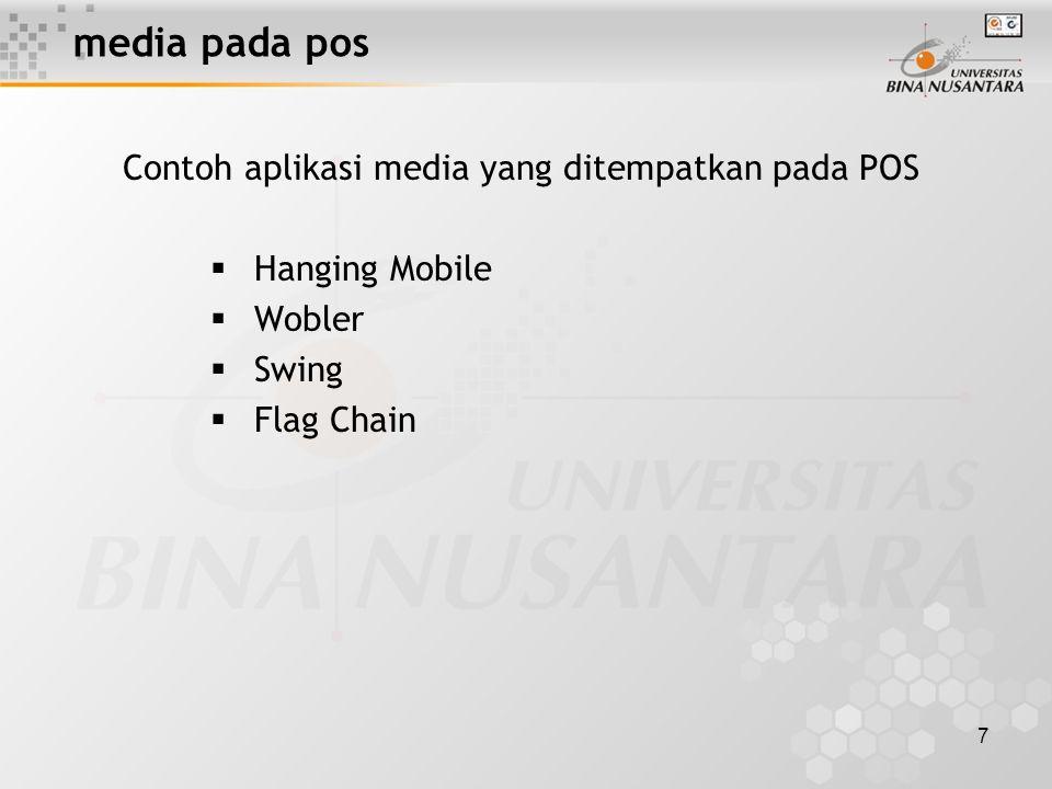7 media pada pos Contoh aplikasi media yang ditempatkan pada POS  Hanging Mobile  Wobler  Swing  Flag Chain