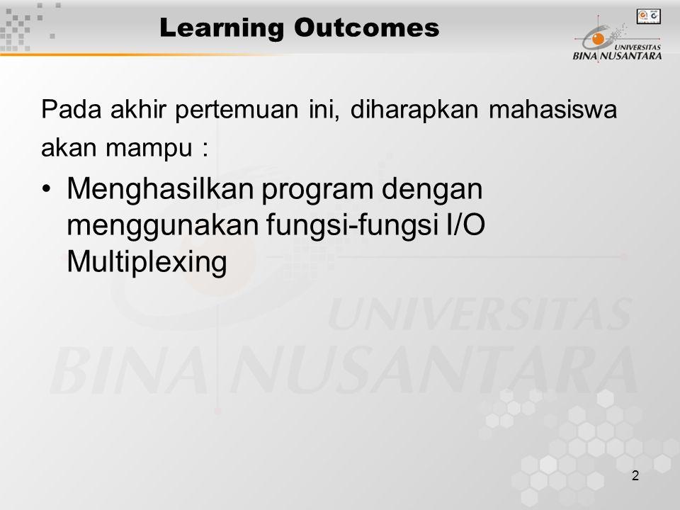 2 Learning Outcomes Pada akhir pertemuan ini, diharapkan mahasiswa akan mampu : Menghasilkan program dengan menggunakan fungsi-fungsi I/O Multiplexing