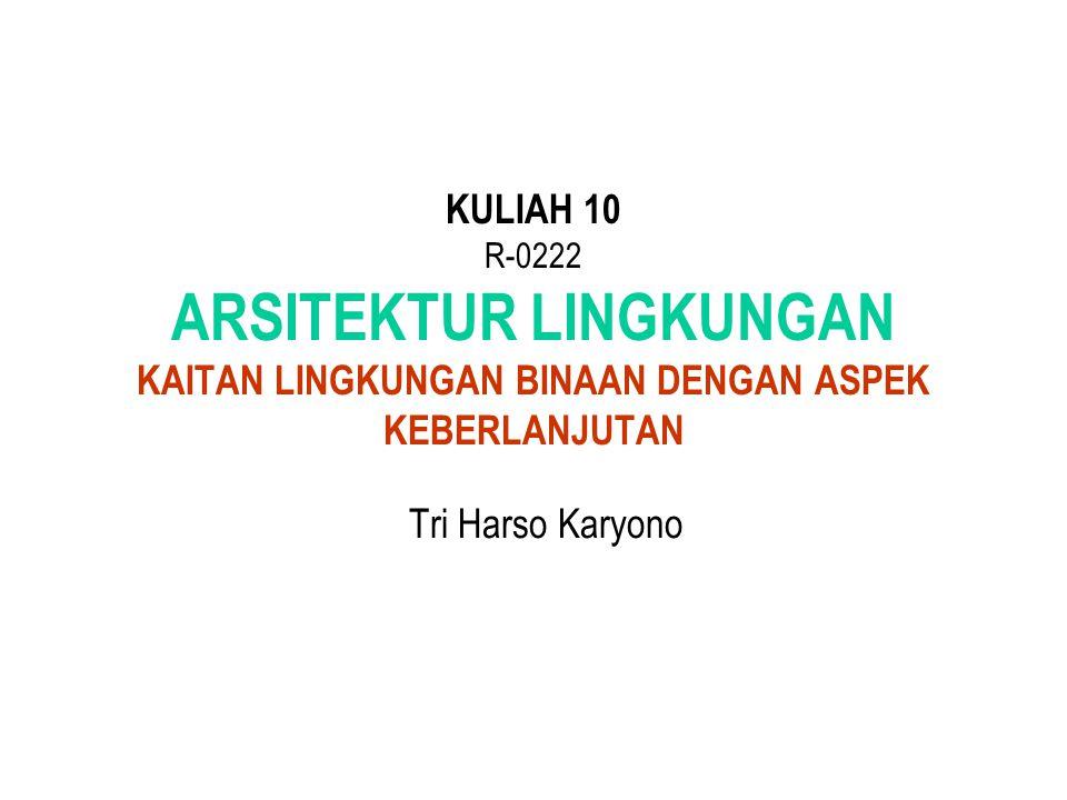 KULIAH 10 R-0222 ARSITEKTUR LINGKUNGAN KAITAN LINGKUNGAN BINAAN DENGAN ASPEK KEBERLANJUTAN Tri Harso Karyono