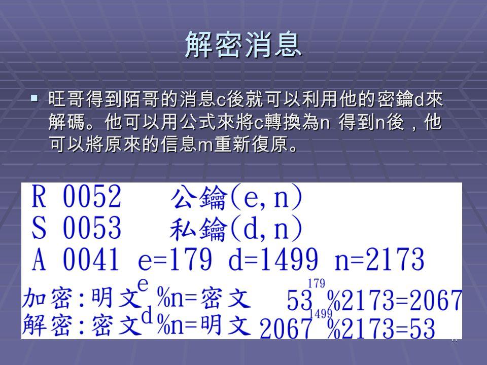 11 解密消息  旺哥得到陌哥的消息 c 後就可以利用他的密鑰 d 來 解碼。他可以用公式來將 c 轉換為 n 得到 n 後,他 可以將原來的信息 m 重新復原。